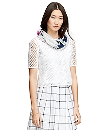 Short-Sleeve Cotton Eyelet Shirt