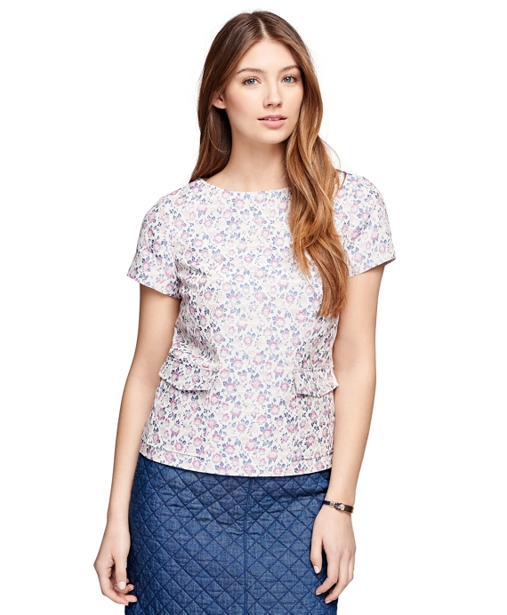 Short-Sleeve Floral Jacquard Top