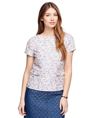Short-Sleeve Floral Jacquard Top