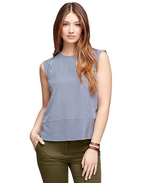 Silk Sleeveless Stripe Blouse