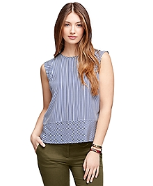 Silk Sleeveless Stripe Blouse