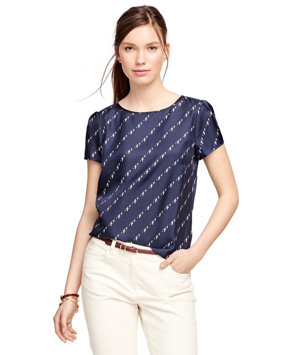Women's Short-Sleeve Bird Print Silk Blouse | Brooks Brothers