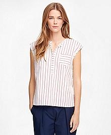 Cotton Cap Sleeve Pinstripe Shirt