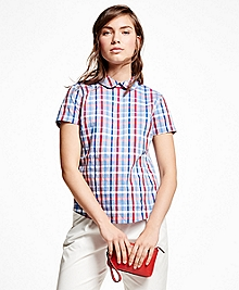 Short-Sleeve Cotton Plaid Pullover Shirt