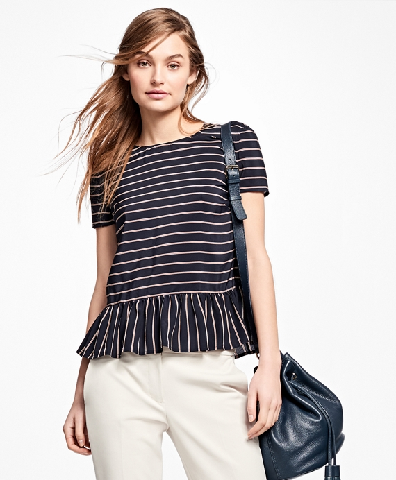Striped Silk Blouse Navy