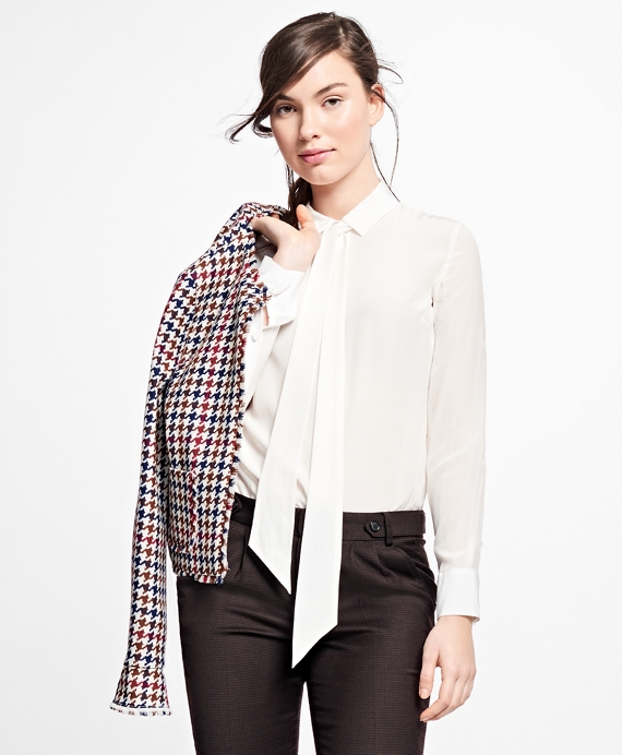 Silk Tie-Neck Blouse Ivory