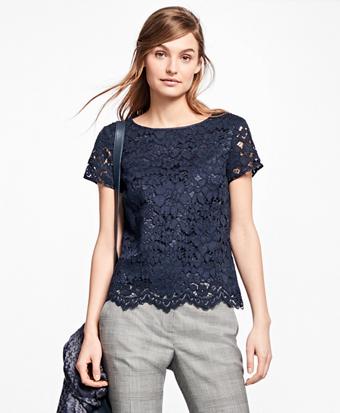 Cotton-Blend Lace Blouse