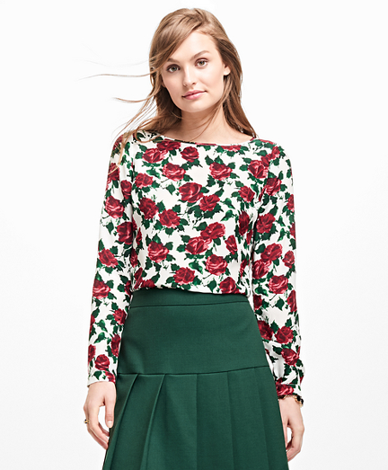 Rose-Print Silk Blouse