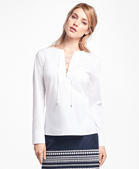 Stretch-Cotton-Poplin Lace-Up Blouse White