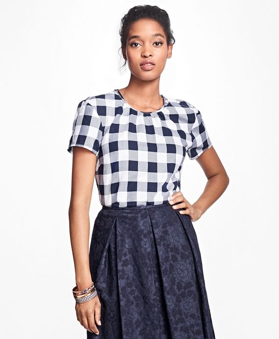 Gingham Cotton Twill Blouse Navy