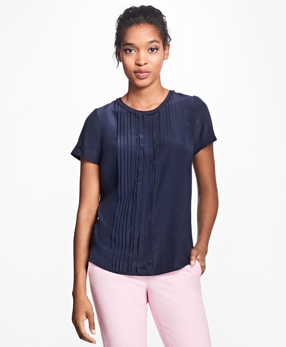 Short-Sleeve Silk Crepe Pleated Top Navy