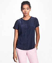 Short-Sleeve Silk Crepe Pleated Top