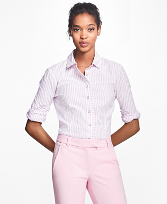 Striped Pleated Cotton Blouse