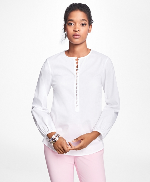 Stretch-Cotton-Blend Blouse White