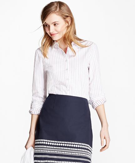 Dot-Striped Cotton Seersucker Shirt