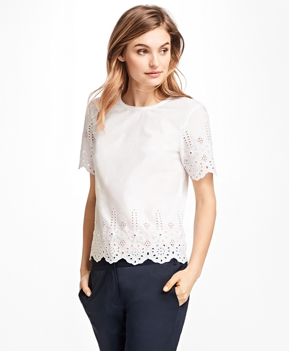 Floral Cutwork Cotton Blouse White