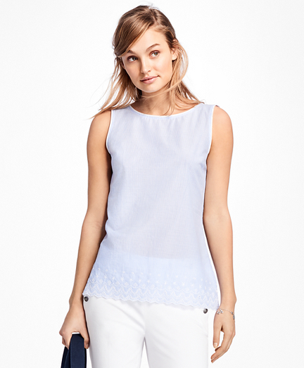 Sleeveless Stripe Eyelet Embroidered Blouse