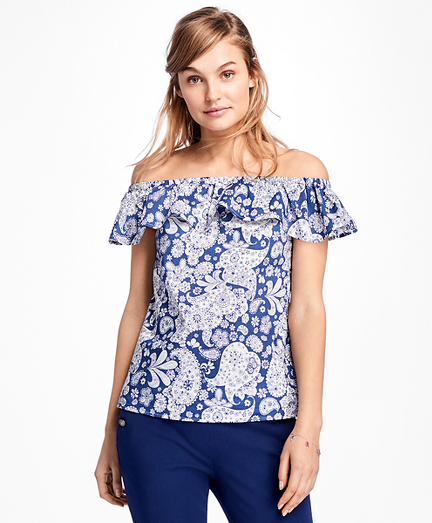 Paisley Off-the-Shoulder Blouse