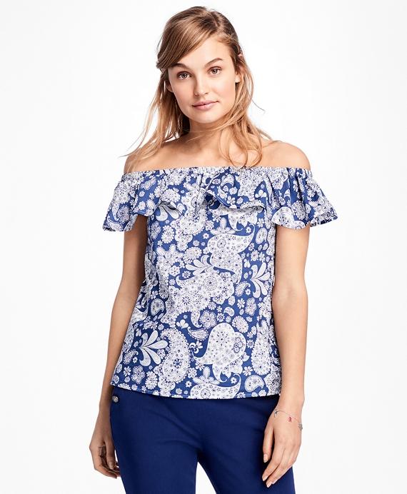 Paisley Off-the-Shoulder Blouse Blue