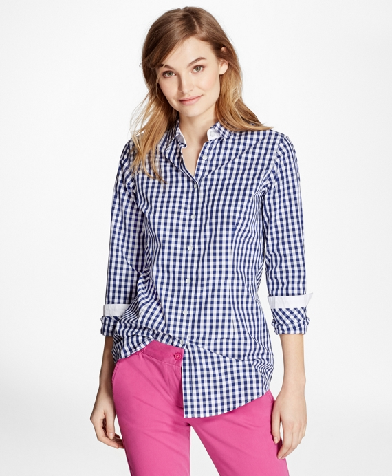 Gingham Cotton Poplin Blouse Blue-White