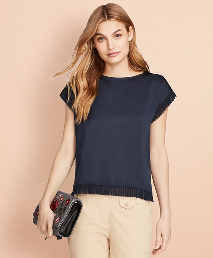 Pleated Chiffon-Trimmed Crepe Blouse