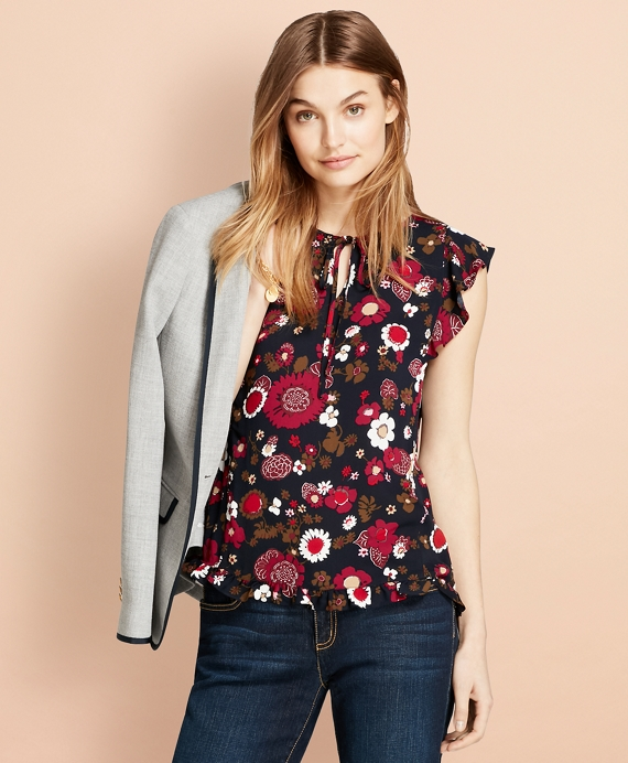 Floral-Print Crepe Blouse Navy-Multi
