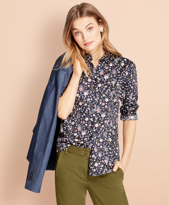 Floral-Print Cotton Sateen Shirt Navy-Multi