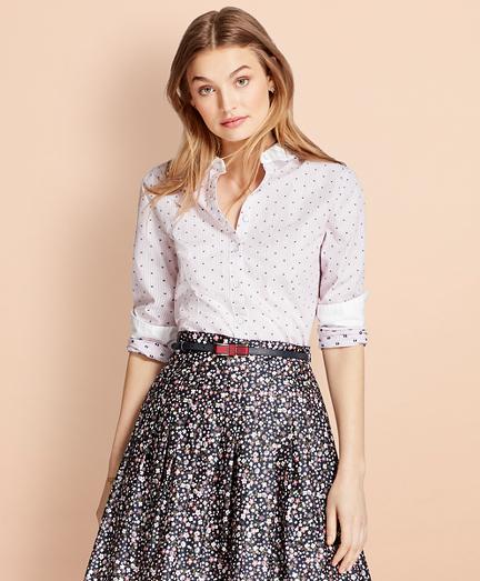 Contrast-Collar Dobby Dot-Stripe Shirt