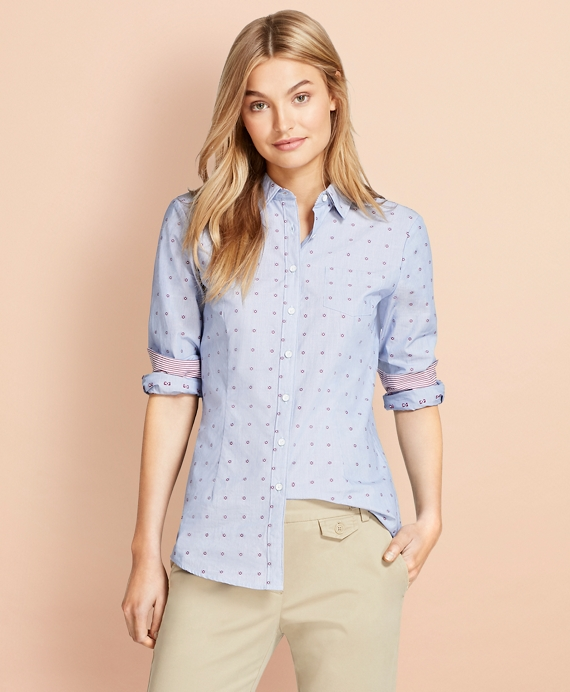 Floral Dobby Cotton Shirt Blue-Red