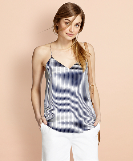 Striped Silk Charmeuse Cami