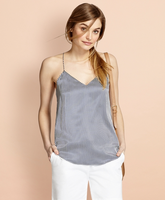 Striped Silk Charmeuse Cami Blue-White