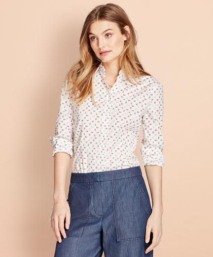 Floral-Print Stretch Cotton Poplin Shirt