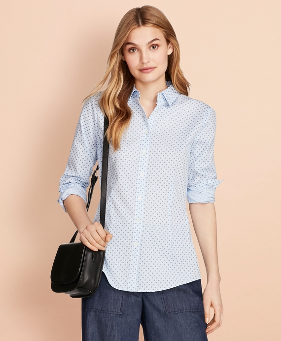 Floral-Print Stretch Cotton Gingham Shirt Blue