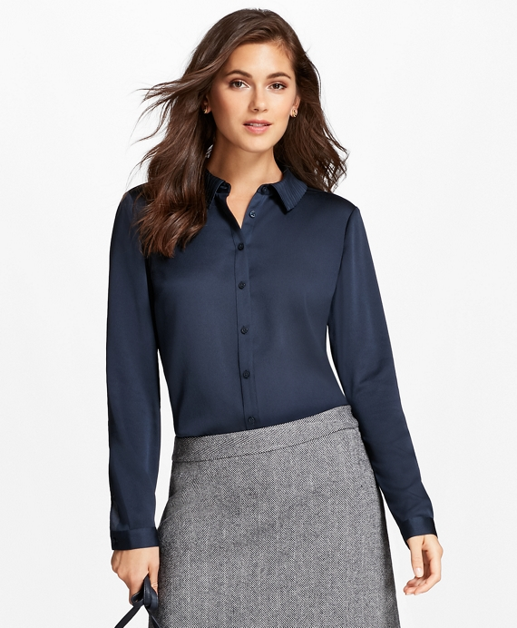 Pleated-Collar Crepe Blouse Navy