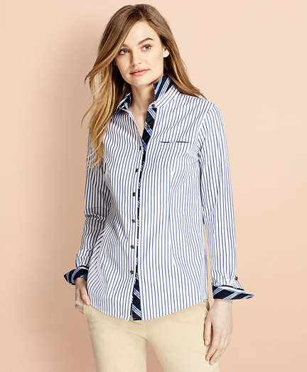 BB#1-Trimmed Nine-to-Nine Striped Stretch-Cotton Poplin Shirt