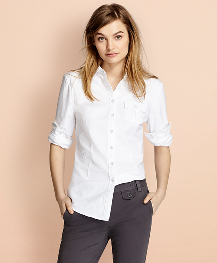 Dobby-Dot Cotton Oxford Shirt