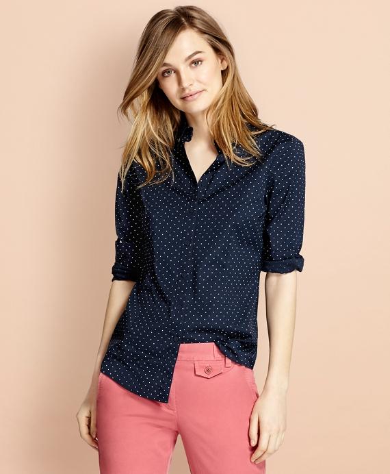 Polka-Dot Stretch Cotton Poplin Shirt Navy