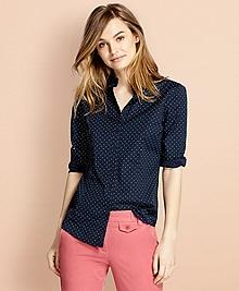 Polka-Dot Stretch Cotton Poplin Shirt