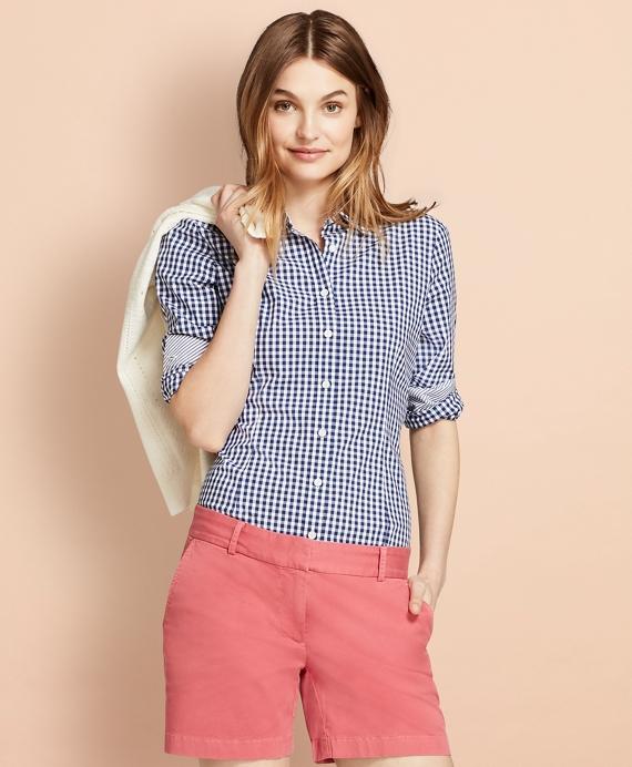 Gingham Stretch Cotton Poplin Shirt Blue