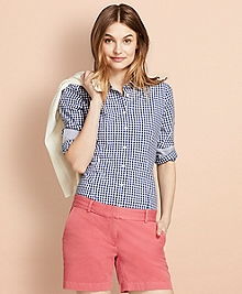 Gingham Stretch Cotton Poplin Shirt