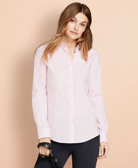 Gingham Stretch Cotton Poplin Shirt Pink
