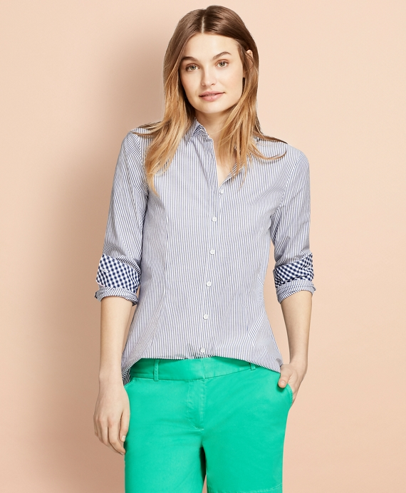 Striped Stretch Cotton Poplin Shirt Blue