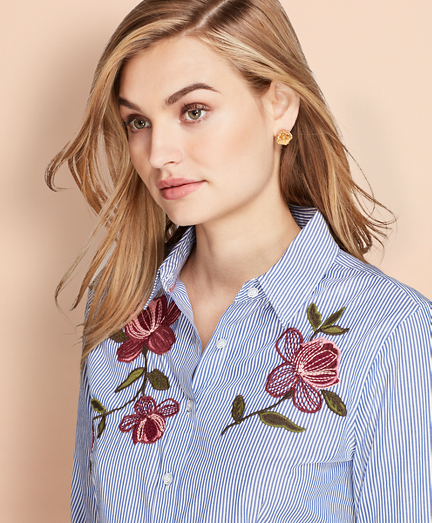 Floral-Embroidered Striped Cotton Poplin Shirt