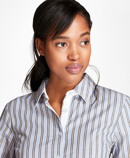 Striped Stretch-Cotton Dobby Shirt