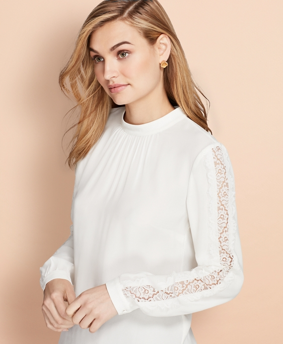 Lace-Trimmed Crepe Blouse White