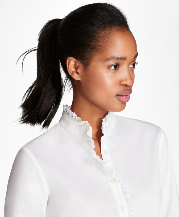 Lace-Trimmed Stretch Cotton-Blend Poplin Shirt White