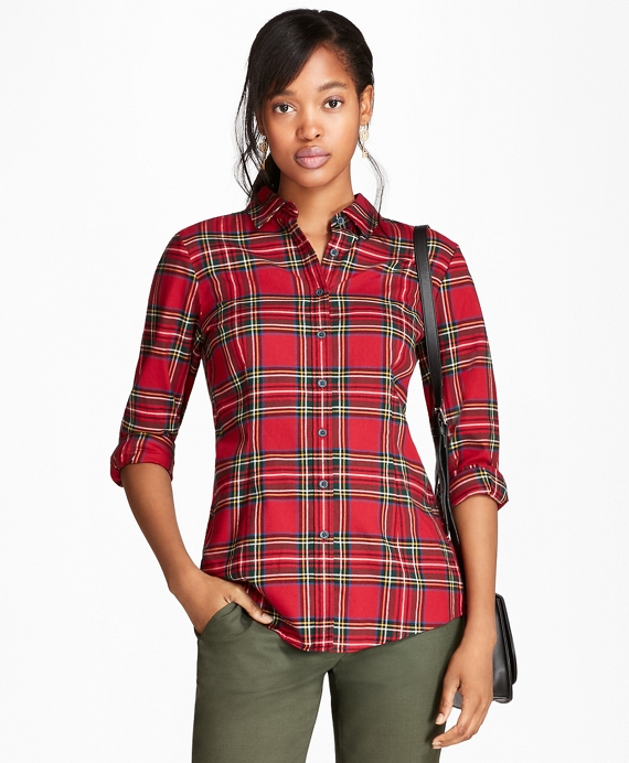 Cotton Tartan Flannel Shirt Red-Multi