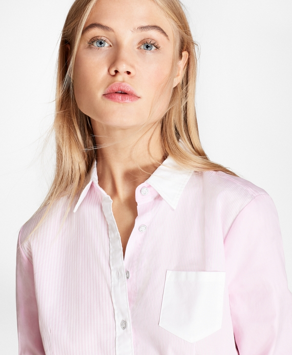 Striped Cotton Poplin Fun Shirt Light Pink