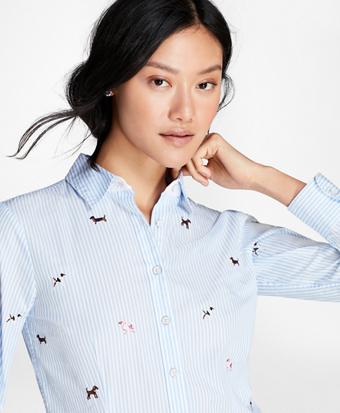 Dog-Embroidered Cotton Poplin Shirt