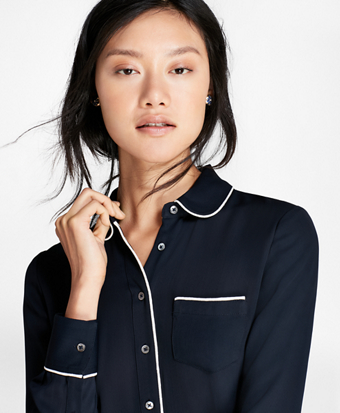 Contrast-Piped Crepe Blouse